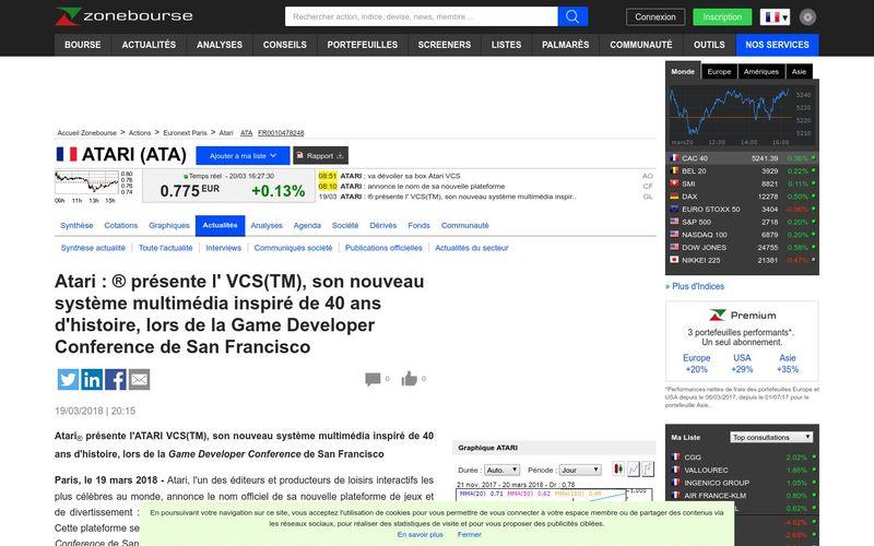Atari : ? pr?sente l' VCS(TM), son nouveau syst?me multim?dia inspir? de 40 ans d'histoire, lors de la Game Developer Conference de San Francisco | Zone bourse